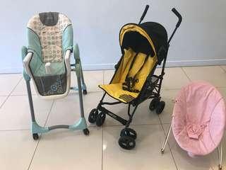 Bundle deal - baby chair, stroller, rocking chair