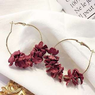 Floral Hoop Earrings (in Wine Red)