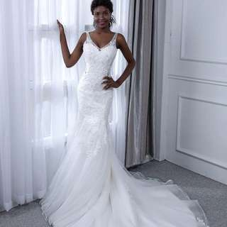 Wedding Dress Dream Angel Elegant Lace Mermaid V-Neck 2018 Sexy Sleeveless Bridal Gown