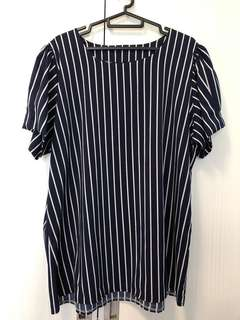 Preloved - plus size vertical stripes navy blouse top
