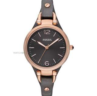 Fossil Georgia Women Grey leather calfskin Strap Watch ES3077