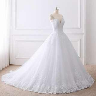 2018 Ball Gown Wedding Dresses Lace Appliques Sexy Bridal Gowns Vestido De Novias Princess Luxury Cathedral Train