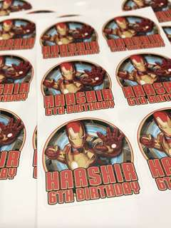 Customised birthday party stickers labels. Iron man avengers