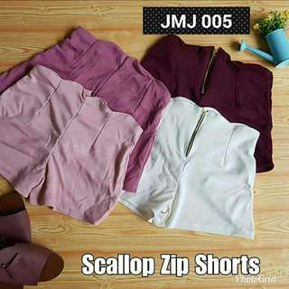 Scallop Zip Shorts
