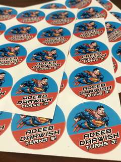 Customised birthday party stickers labels superman