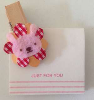 Rabbit bunny clip with magnet and mini card
