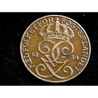1936年瑞典王國(Kingdom of Sweden)皇家三冠徽及瑞皇古斯塔夫五世徽5奧里(Ore)銅幣