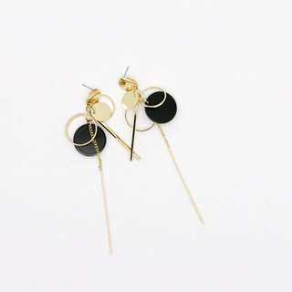 EMVINEX- circle rings & various solid plates Black x Gold chain drop dangling earrings