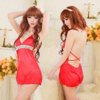 TCWK Sexy Women Red Babydoll Silk Lingerie Sleepwear E210