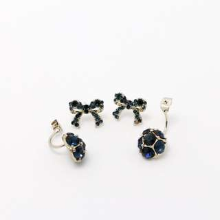 EMVINEX- Sapphire blue crystals bow with backing stud crystal ball BLINK ! Silver earring fashion