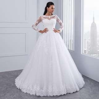 Ball Gown Wedding Dresses 2018 New Detachable train Lace Appliques Pearls Bridal Gowns Crystal Sashes Vestido De Novias