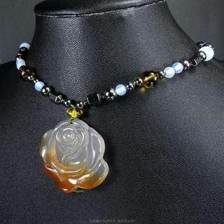🚚 珍珠林~經典設計款~純手工雕製~天然玉髓玫瑰花項鍊#286