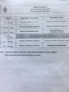 Raffles Institution Teachers's Collated H2 Chemistry Revision Questions