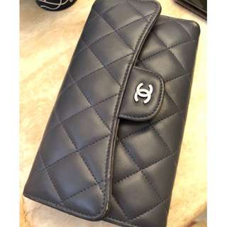 Chanel long tri fold long wallet Lambskin