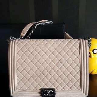 Chanel Boy Suede Caviar Brown Bag