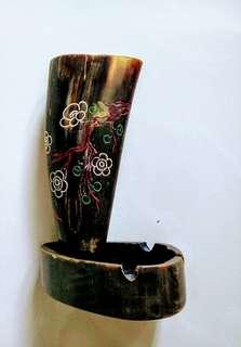 🚚 民國初年 古牛角製成的菸灰缸