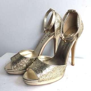 EVERBEST Golden sparkly high heels platform shoes size 38
