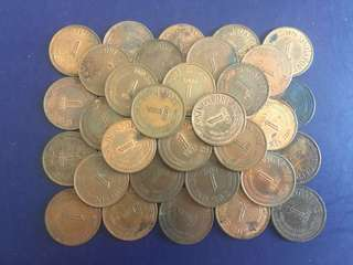 Singapore 1 Cent yr 1967-1979, (40pcs), various conditions , not for fussy buyers , No have 1968,70,73, include mailing charge