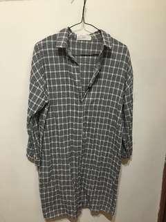格紋長版襯衫外套