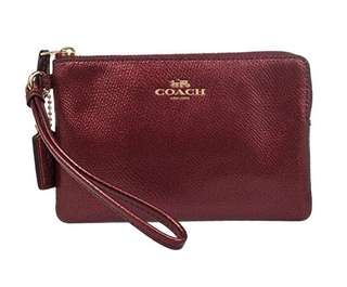 Coach Wristlet in Metallic Cherry Red