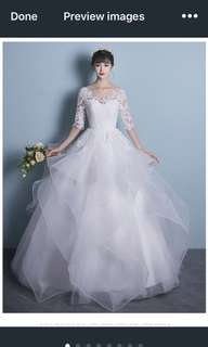 Long Half Sleeve Lace Wedding dress Bridal Gown