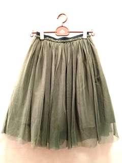 🚚 e hyphen world gallery 墨綠色雙面穿氣質紗裙