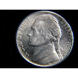1998年美國已故總統費杰遜及其大宅5仙鎳幣(有P標記)