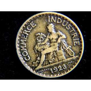 1923年法蘭西總商會商業之神坐像1法郎銅幣