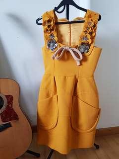 Miu Miu burnt orange 3D flower dress