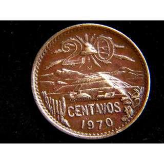 1970年墨西哥共和國大鷹啄蛇國徽阿茲特克月亮塔20仙銅幣