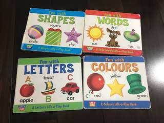Lift-a-flap collection (4 books - fun with letters, words, shapes, colors)