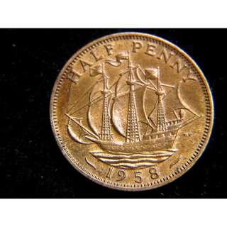 1958年大英帝國金鹿號商船1/2便士銅幣(英女皇伊莉莎伯二世像)