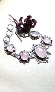 "Attractive Rose Quartz Bracelet 7"" - 8 1/2"". Set in 925 Silver."