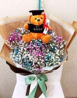 55-60cm BB BREATH BIG BEAR GRADUATION CONGRATULATORY BOUQUET FLOWERS - CUSTOMISABLE