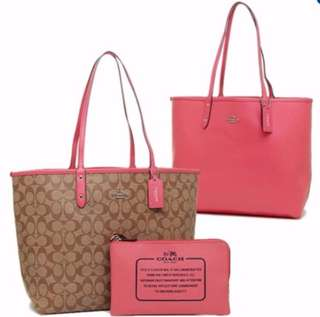 Coach Reversible City Tote in Signature - Pink Authentic