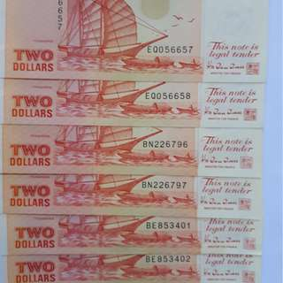 $2 Singapore Currency