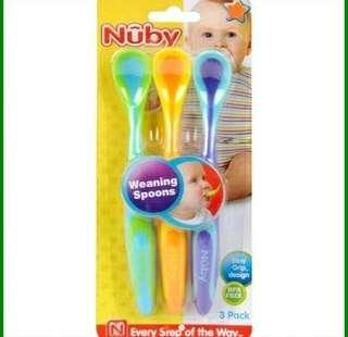 3in1 nuby weaning spoons 3 warna