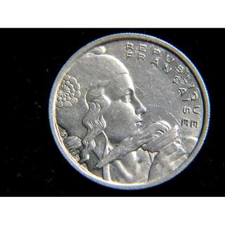 1955年法蘭西共和國自由女神瑪莉安娜手持火炬照亮大地100法郎鎳幣