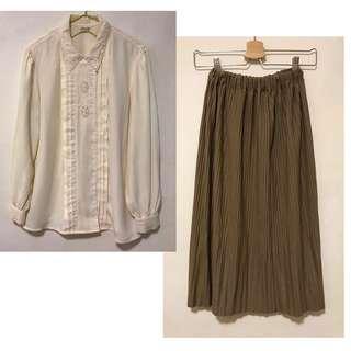 精選組合💘優惠價💘 古著刺繡白襯衫+歐美細百褶長裙+英倫風麂皮外套