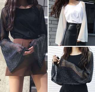 Mesh Bell Sleeve Top