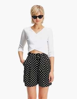 🚚 OshareGirl 05 西班牙單歐美女士時尚印花波點高腰A字短褲
