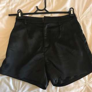 Bardot black satin shorts