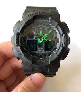 正貨 G shock 黑綠色手錶