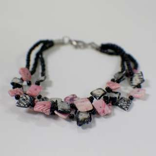 🦄 Pre-loved Pink & Black Summer Shells Bracelet