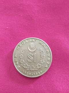 Duit Syiling Lama , mata wang lama /  1 ringgit Syiling Ulangtahun ke-10 Bank Negara