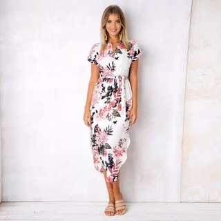 Floral V Neck Short Sleeve Slit Side Asymmetrical Skater Dress