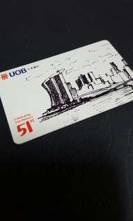 [$0.11 VALUE] Uob sg51 white ezlink + nets flashpay card