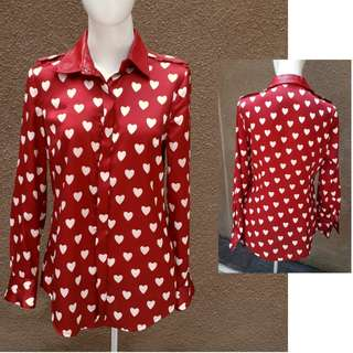 50% Disc.BURBERRY Rep.Satin Red Blouse