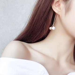 Korea Pearl Drop Long Earring