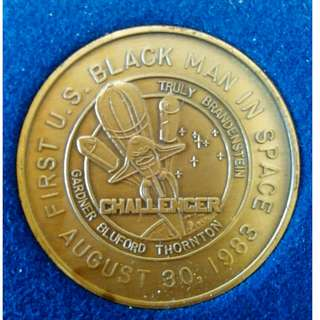 Bronze Medallion Commemorating 1st US Black In Space .